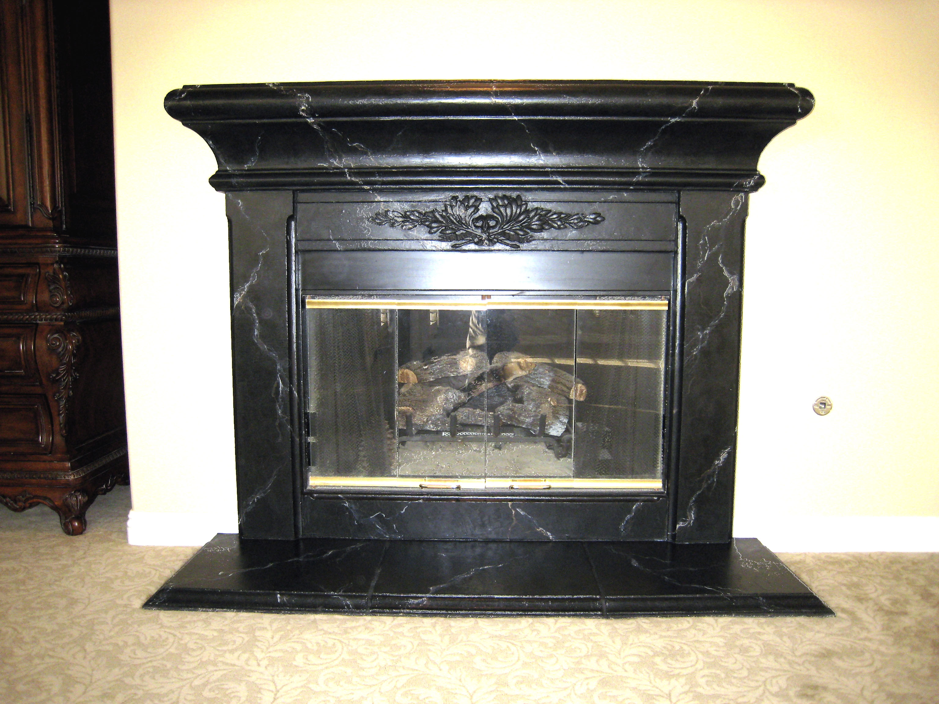 Faux Black Marble Fireplace