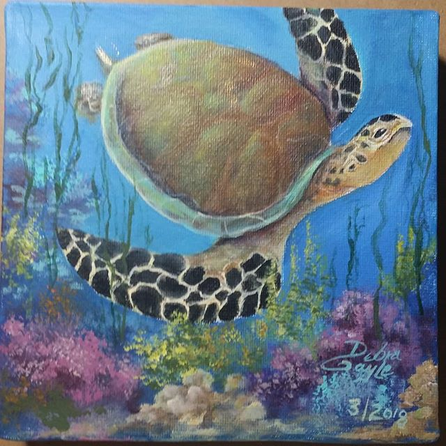 6×6 gallery wrapped canvas #seaturtle #acrylicpaint #sealife #artiste #loveart