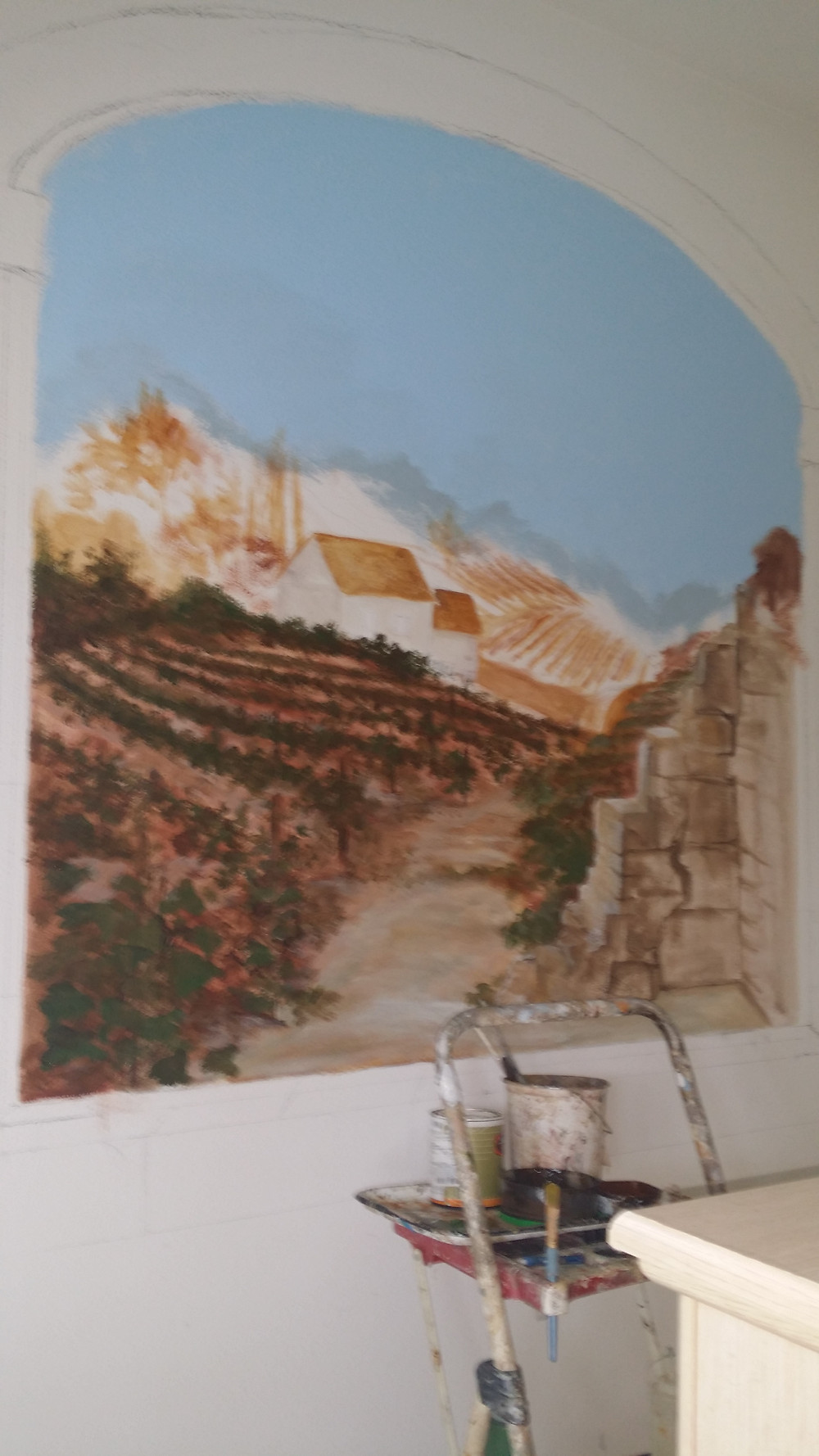 Day 1 of Tuscany Mural
