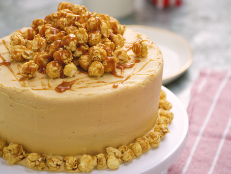 Homemade Salted Caramel Popcorn Cake