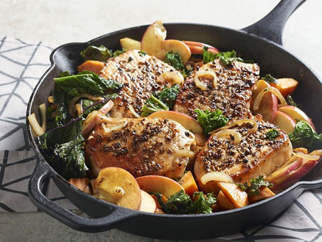 Healthy Fennel-Rubbed Pork Chops with Apple, Kale, and Sweet Potato