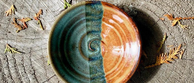 Chris Johnson Dipping Bowl - Light Blue & Brown
