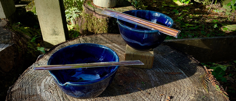 Cascadia Stoneware Set of Noodle/Rice Bowls - Midnight Blue