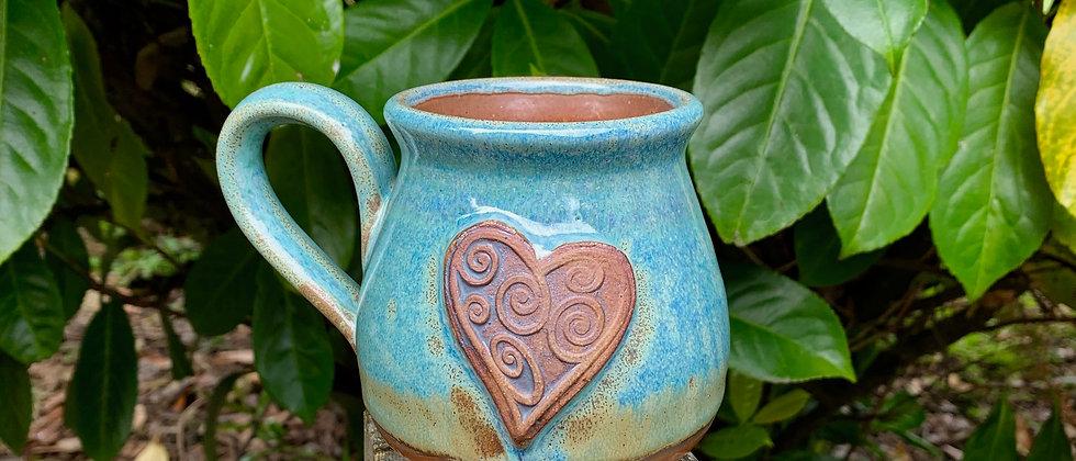 Rabun Thompson Round Heart Mug -Teal