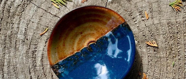 Chris Johnson Dipping Bowl - Teal & Brown