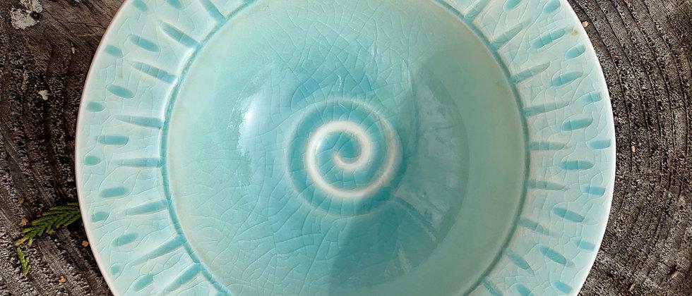 Linda Heisserman Green Crackle Bowl #2