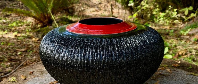 Tim Murphy Raku Vase - Black & Red