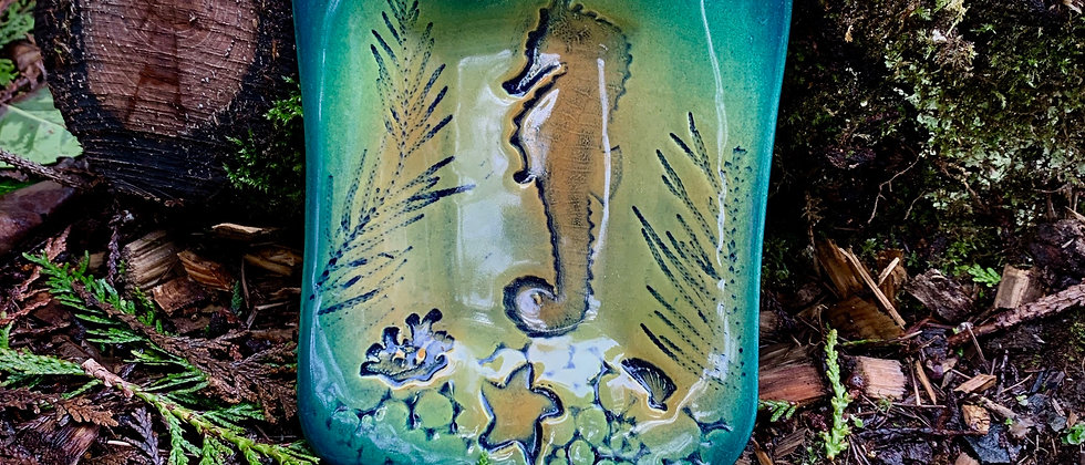 Dorothy Steele Soap Dish - Green Seahorse