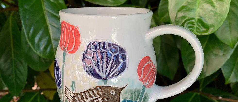 Ha Austin Wren Mug -Blue & Red Flowers