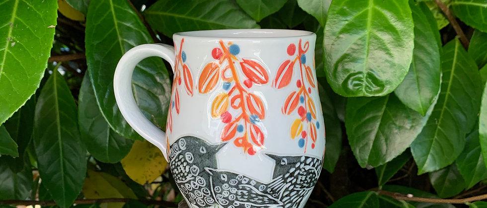 Ha Austin Wren Mug - Orange Leaves