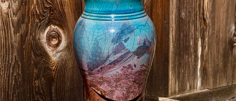 Blue Spruce Pottery Raku Vase