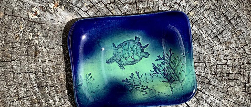 Dorothy Steele Soap Dish - Blue Sea Turtle