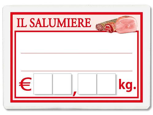 Segnaprezzi IL SALUMIERE SALUMERIA SALUMI Plastif. Scrivib. (scegli q.tà/misura)