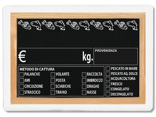 Segnaprezzi LAVAGNA PESCE PESCHERIA Plastificato Scrivibile (scegli q.tà/misura)
