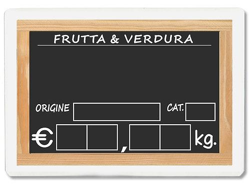 Segnaprezzi LAVAGNA FRUTTA E VERDURA ORTOLANO Plastificato (scegli q.tà/misura)