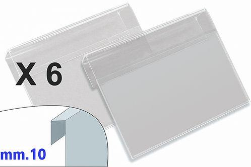 PORTAPREZZI PICCOLO plexiglass crystal aggancio mm.10 (confezione 6 pz.)