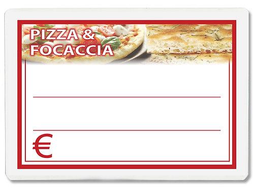 Segnaprezzi GRANDE PIZZA e FOCACCIA Plastificato Scrivibile (conf. 12 pz.)