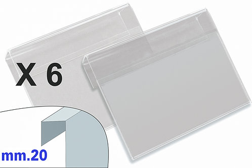 PORTAPREZZI GRANDE plexiglass crystal aggancio mm.20 (confezione 6 pz.)