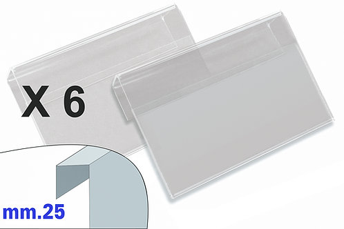 PORTAPREZZI MEDIO plexiglass crystal aggancio mm.25 (confezione 6 pz.)