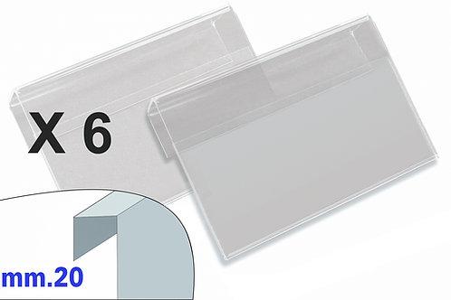 PORTAPREZZI MEDIO plexiglass crystal aggancio mm.20 (confezione 6 pz.)