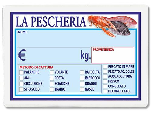 Segnaprezzi PESCE PESCHERIA PESCI Plastificato Scrivibile (scegli q.tà/misura)