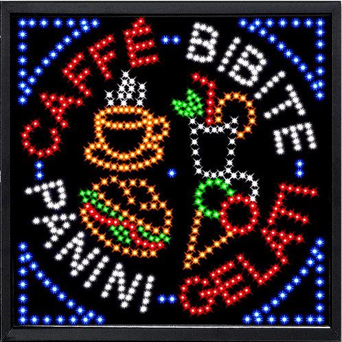 INSEGNA A LUCI LED - CAFFE'-BIBITE-PANINI-GELATI  Misura cm. 60 x 60 - Cod. LED