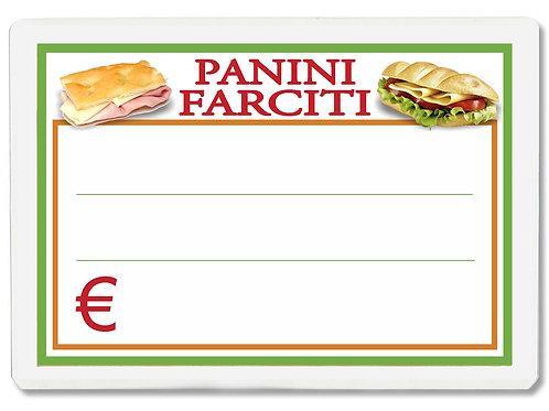 Segnaprezzi PICCOLO PANINI FARCITI Plastificato Scrivibile (conf. 12 pz.)
