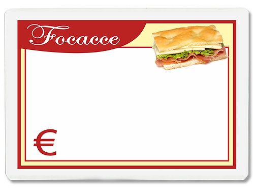 Segnaprezzi PICCOLO FOCACCE Plastificato Scrivibile (conf. 12 pz.)