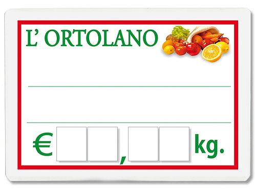 Segnaprezzi ORTOLANO FRUTTA VERDURA Plastificato Scrivibile (scegli q.tà/misura)