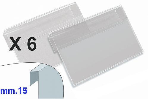 PORTAPREZZI MEDIO plexiglass crystal aggancio mm.15 (confezione 6 pz.)
