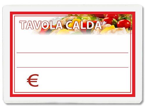 Segnaprezzi TAVOLA CALDA PIATTI BAR Plastificato Scrivibile (scegli q.tà/misura)