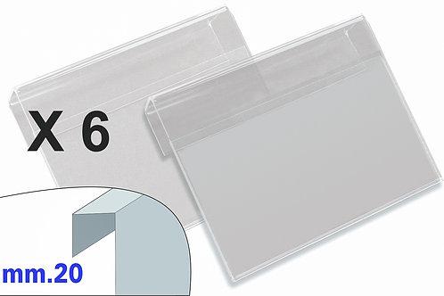 PORTAPREZZI PICCOLO plexiglass crystal aggancio mm.20 (confezione 6 pz.)