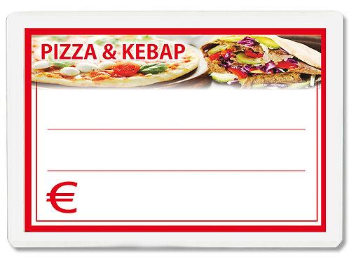 Segnaprezzi PIZZA E KEBAP Plastificato Scrivibile (scegli quantità/misura)