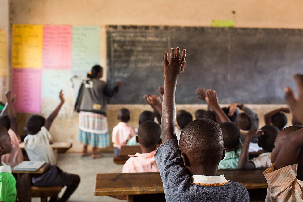 Happy students at a school in Uganda, Af