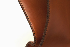 Hand cross-stitched full grain latigo leather tote bag