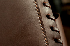 Saddle-stitched full grain cowhide leather briefcase