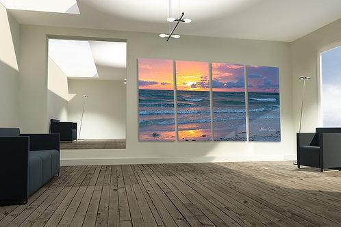 Honeymoon Beach Dunedin Florida Pink Sunset Multi ACRYLIC