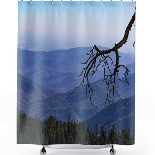 Shower Curtain with Sequoia National Forest Mountain Overlook