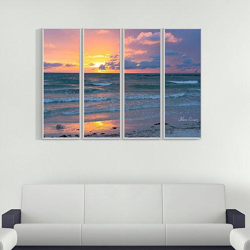 Honeymoon Beach Dunedin Florida Pink Sunset FOUR Multi Piece Wall Art Gulf of Me