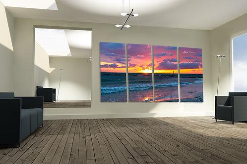 Honeymoon Beach Dunedin Florida Pink Sunset Multi METAL