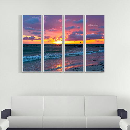Honeymoon Beach Dunedin Florida Pink Sunset Multi Piece Wall Art Gu