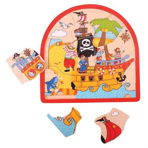 Puzzle arrondi à couches - pirates
