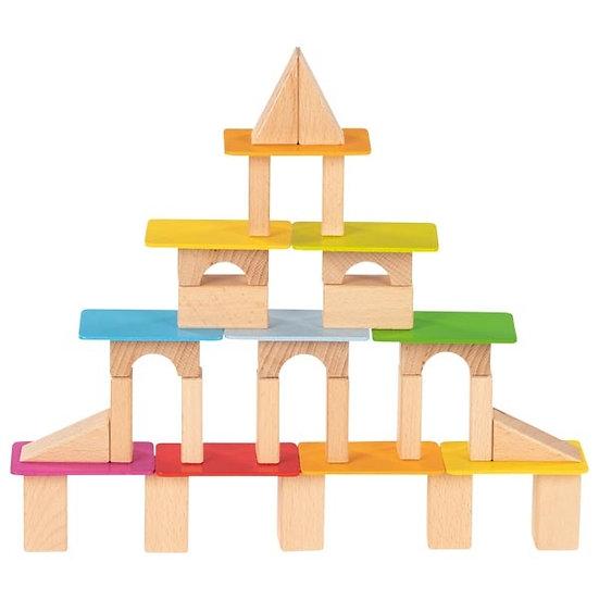 Blocs et cartes de construction en bois lasuré