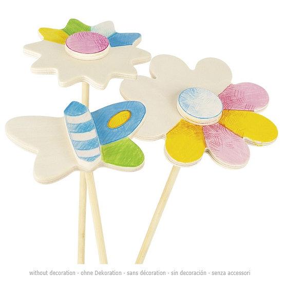 6 Décorations pour pot de fleurs à colorier, printemps