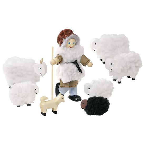 Berger et son troupeau, poupée articulée