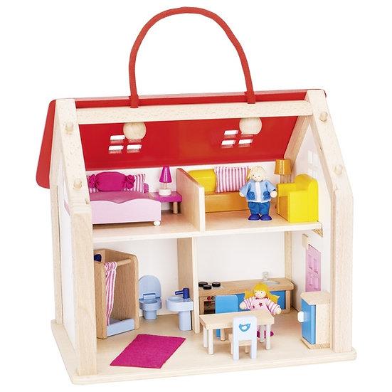 Valise maison de poupées avec accessoires