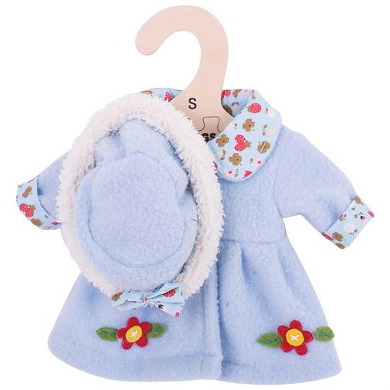 Chapeau et manteau bleus - 28 cm