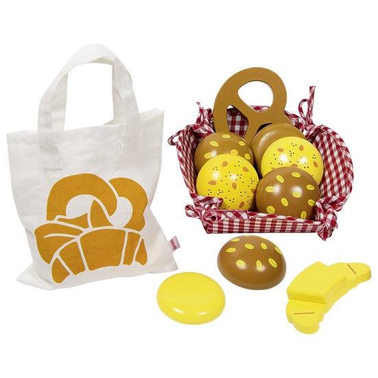 Petits pains avec sac en coton et panier