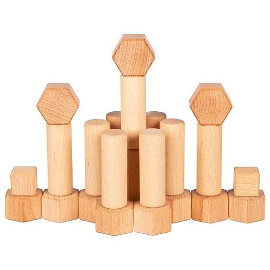Jeu de construction en bois ciré à l'huile de noix