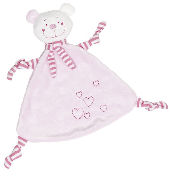 Doudou ours avec coeur - bleu ou rose